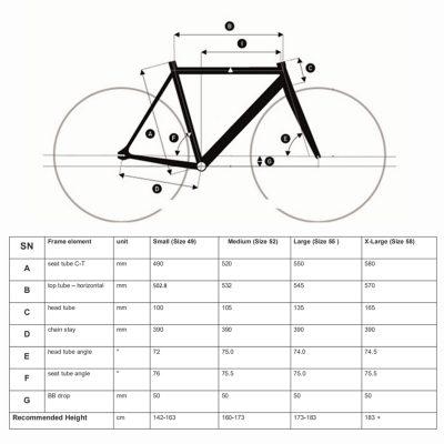 TSUANMI SNM100 size chart